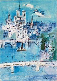Jean Dufy - Paris, la Seine et Notre-Dame