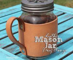 Leather Mason Jar Mug Coozie!
