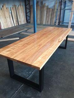 Blackbutt-Hardwood-Industrial-Dining-Table-Steel-Loop-leg-Melbourne
