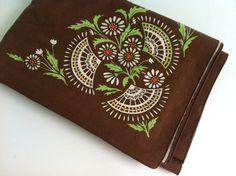 Vintage Brown Floral Tablecloth Vintage by YourAuntiesPanties, $22.50