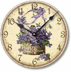 Item Victorian Style Basket of Violets Clock, Vintage Style Clocks, Art Vintage, Vintage Images, Vintage World Maps, Vintage Paper, Vintage Style, Decoupage, Face Images, Clocks For Sale, Sweet Violets