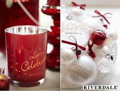 Riverdale Christmas Collection 2013 The Party Guide – Riverdale #Christmas Decorations in Winter White & Berry Red with Lanterns, Candles & Table Decorations in a Country Lifestyle Decor. (Photo #Riverdale)