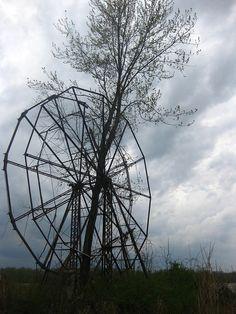 abandoned ferris wheel.