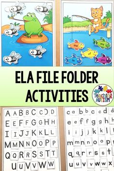 These file folder activities are the perfect way for your kindergarten students to work on a range of ELA skills. These file folder activities are linked to the ELA common core standards. They are perfect for your autism, special education and kindergarten classroom #CommonCore #FileFolderGames Autism Teaching, Teaching Phonics, Autism Classroom, Classroom Resources, Teaching Resources, File Folder Activities, Literacy Activities, Literacy Stations, Literacy Centers