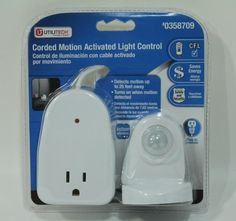 Utilitech Corded Motion Light Control by Utilitech. $36.95. Plug in an electrical device into the westek 100- watt indoor plug-in motion - activated light control to have it turn on when movement is detected. Great for turning on lights in the dark, this light control offers a 6 ft. cord to provide extra reach from the wall outlet. With a 25 ft. range, this light control can sense motion easily across large room & hallways.