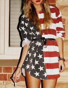 Discover this look wearing Dresses - American Flag Dress by quietlyexaggerating styled for Chic, Everyday in the Summer 4th Of July Dresses, 4th Of July Outfits, Trailer Park, American Flag Dress, Looks Style, My Style, Bohemian Style, Vogue, Up Girl
