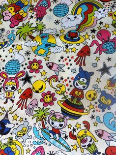 Kawaii Japanese Anime Fabric in Animal Invaders by kawaiifabric, $4.00