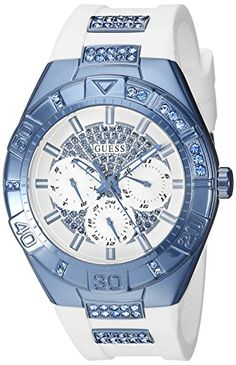 GUESS Women's U0653L2 Sporty White Silicone Watch with Sky Blue Accents and Multi-Function Dial GUESS http://www.amazon.com/dp/B015K85TF2/ref=cm_sw_r_pi_dp_yWDXwb1K2V7AR