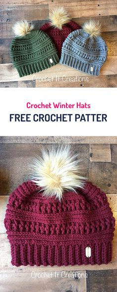 "diy_crafts- Crochet Winter Hats Free Crochet Pattern crochet yarn fashion style diy crafts ""(sans the fur) Crochet Winter Hats Free Crochet Bonnet Crochet, Crochet Beanie Hat, Knit Or Crochet, Crochet Scarves, Crochet Crafts, Crochet Hooks, Crochet Projects, Diy Crafts, Crocheted Hats"