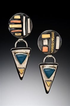 RICHARD LINDSAY DESIGNS Acoma Moonrise Earrings Inspired by the Acoma Pueblo perched high on a sandstone mesa. In Sterling Silver, 14k & 18k Gold, Copper, Brass, Steel and Peruvian Opal Chalcedony. High Gloss Finish $338.00