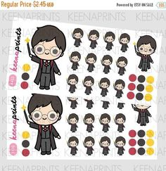 25% OFF A432 LITTLE Wizard Chibi Repositionable Stickers Chibi, Harry Potter Stickers, Plum Paper Planner, Personal Planners, Kikki K, Erin Condren, Travelers Notebook, Filofax, Sticker Paper