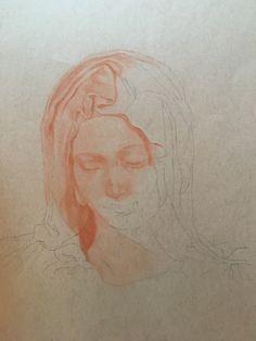 Madonna of the Pieta - drawing in progress - by South Carolina artist, Mary Burkett, 2017.