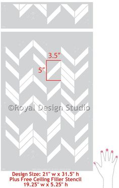 A unique take on a herringbone stencil design, this Herringbone Shuffle Allover Wall Stencil from our new Bonnie Christine Stencil Collection for Royal Design S