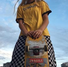 At present, skate styles is for that reason commonplace in favorite tradition, that'd it seem like fair game for all those to wear. Aesthetic Grunge, Aesthetic Clothes, Aesthetic Yellow, Aesthetic Pastel, Aesthetic Vintage, Aesthetic Girl, Skater Girl Outfits, Skate Girl, Looks Street Style