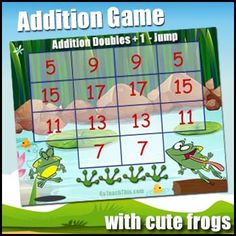 Doubles Plus One - Addition Game - Doubles by Math Games and Reading Games Galore - Adrian Bruce Math Addition Games, Addition Facts, Math Games, Dyscalculia, Reading Games, Cute Frogs, Learning Numbers, Game 1, Classroom