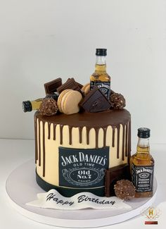 Buttercream cake with chocolate drip topped with Chocolate & Jack Daniels Alcohol Birthday Cake, 30th Birthday Cakes For Men, Birthday Drip Cake, Alcohol Cake, Bithday Cake, Chocolate Birthday Cake For Men, Birthday Cake Design, Bolo Jack Daniels, Jack Daniels Cupcakes