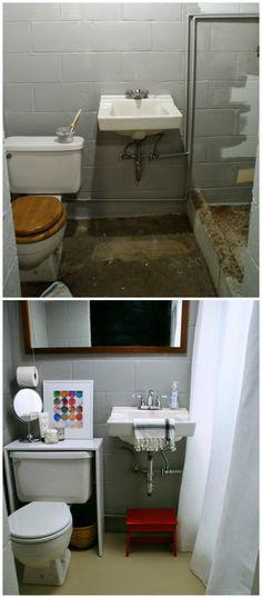 before and after, basement bathroom makeover #smallbathroom #bathroomideas #basement