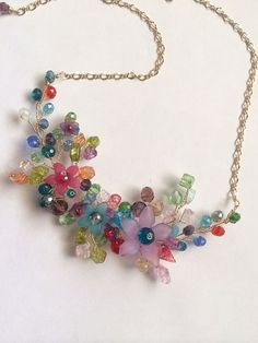 Crystal Necklace Colorful Necklace Necklace by FlowerRainbow