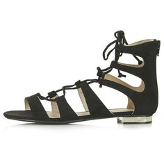 TopShop Heaven Gladiator Sandals (9.57 CAD) ❤ liked on Polyvore featuring shoes, sandals, black, topshop, laced sandals, black lace up sandals, topshop sandals, laced up gladiator sandals and lace-up sandals