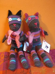 sock animals: cats - made by FRANZ