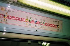 I always loved this... Every station has an icon. It's like a self-portrait of the city and what it thinks of itself. You see the culture and activities of its people. It is much more than a dot and a name...