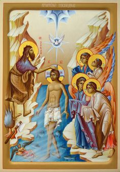 Holy Baptism / Epiphany / Theophany by Dragan Jovanovic Religious Icons, Religious Images, Religious Art, Christian Baptism, Christian Art, Transfiguration Of Jesus, Jesus In The Temple, Baptism Of Christ, Spiritual Images