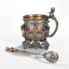 "Russian .875 Silver-gilt and Champlevé-enamel Tea Glass Holder (Podstakannik) and Spoon, St. Petersburg, late 19th century, maker's mark in Cyrillic ""G.A."""