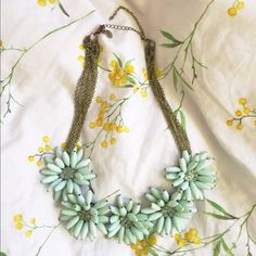 Mint green flower STATEMENT necklace Jack E Ohs mint green flower statement necklace. Adjustable and very cute Jewelry Necklaces