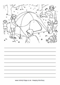 Putting up the tent story paper Teaching Writing, Writing Skills, Writing Prompts, Writing Station, Picture Composition, First Grade Writing, Cool Coloring Pages, Picture Story, Camping Theme