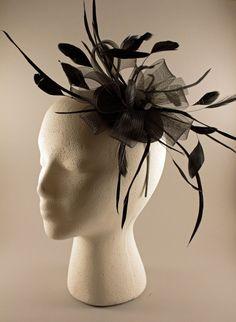 Black Feather and Crinoline Fascinator Headband by BelledeBenoir