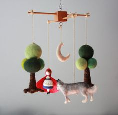 Needle Felted Little Red Riding Hood and the Very Bad Wolf Nursery Forest Baby Mobile