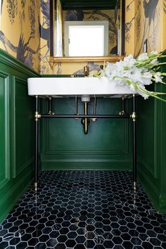 Home Interior Styles Powder Room Makeover Reveal Downstairs Bathroom, Small Bathroom, Green Bathrooms, 1920s Bathroom, Bathroom Yellow, Luxury Bathrooms, Master Bathrooms, Bath Tub, Contemporary Bathrooms