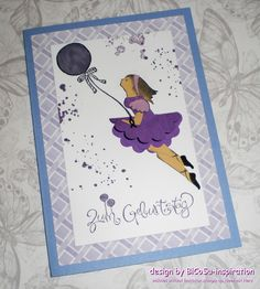 Geburtstagskarte / Grußkarte mit einem Mädchen und Luftballon - Happy Birthday cards / Greeting cards with a girl. the ballon from stampin up