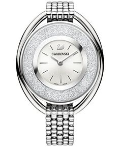 Swarovski Crystalline Oval White Watch - Geeves Jewellers - suppliers of watches and jewellery, London Swarovski Watches, Swarovski Gifts, Swarovski Crystals, Color Plata, Metal Bracelets, Stainless Steel Bracelet, Quartz Watch, Fashion Watches, Gold Watch
