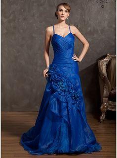 Vestidos princesa/ Formato A Decote V Cauda de sereia Organza de Vestido de baile com Pregueado Bordado fecho de correr