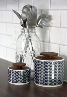 Orla Kiely jars and vintage mason jar in the kitchen