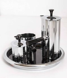 Walter Von Nessen Chase Art Deco Diplomat Coffee Set, Complete, Original Tray | From a unique collection of antique and modern tea sets at https://www.1stdibs.com/furniture/dining-entertaining/tea-sets/