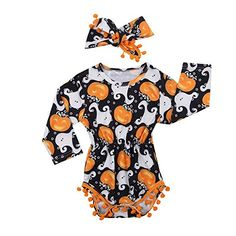45ceee8bc1f6 Cute Infant Newborn Baby Girl Long Sleeve Pumpkin Bodysuit Pompom Romper  with Headband Halloween Outfit Clothes Months