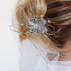 Rhinestone Bridal Haircomb  Vintage Style Hand by ADbrdal on Etsy, $32.00 #bride #wedding #weddingaccessory #weddinghair #weddingveil