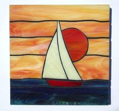 mosaic sunset | Sailboat design stained glass coasters