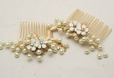 Two pearl and vintage jewelery gold and ivory by BeSomethingNew