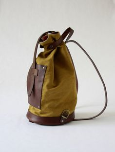BACKPACK in yellow CANVAS and dark brown genuine leather by ElMato on  Etsy made in 600c213533912