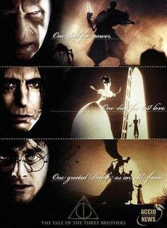 Brilliant correlation between the Deathly Hallows and Voldemort/Tom Riddle, Severus Snape and Harry Potter