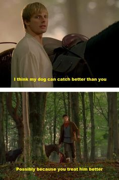 ...Arthur has a dog? WHY DID WE NEVER SEE THIS I WANT ARTHUR TO BE WITH HIS DOG CAN WE PLEASE HAVE AN EPISODE WITH ARTHUR BEING CUTE WITH HIS DOG AND MERLIN JUST LAUGHING HIS BUTT OFF IF THE SHOW RETURNS PLEASE
