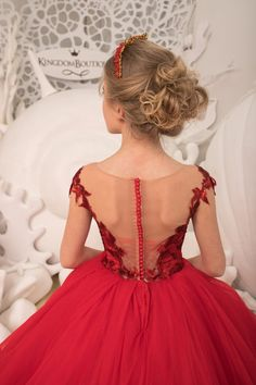 Red Flower Girl Dresses, Little Girl Dresses, Girls Dresses, Lace Corset, Tulle Lace, Lace Dress, Custom Dresses, Birthday Dresses, Red Lace