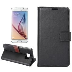Crazy Horse Texture Horizontal Flip Magnetic Buckle Leather Case with Card Slots & Wallet & Holder for Samsung Galaxy S6(Black)
