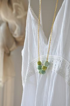 Mint Green Necklace - Statement Necklace -Nature Gold Necklace - Handmade Beads - Autumn Fashion - Autumn Accessories by stellacreations on Etsy https://www.etsy.com/listing/95624112/mint-green-necklace-statement-necklace