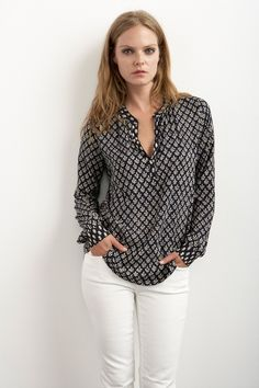 Nyleen India Challis Half-placket Blouse by Velvet (White jeans a must!)