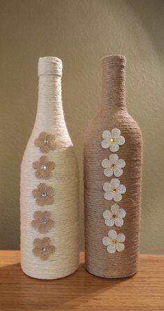 Impresionante hilo envuelto botella de vino por StunningBottlesArt