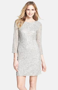 Free shipping and returns on Pisarro Nights Cowl Back Sequin & Bead Dress at Nordstrom.com. A glittering overlay of metallic sequins and beads is alight against a three-quarter-length sleeve minidress, featuring a sultry, draped cowl-neck back.
